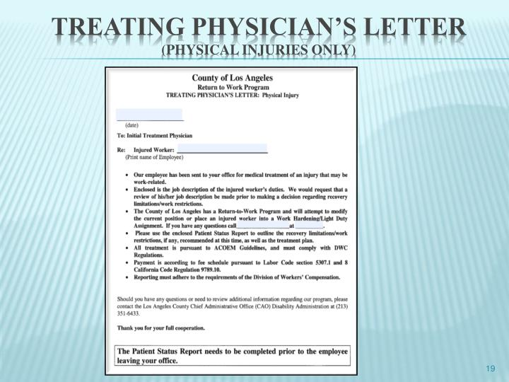 Treating physician's letter