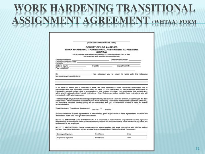 Work hardening transitional assignment agreement