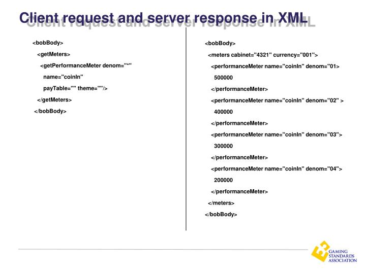 Client request and server response in XML