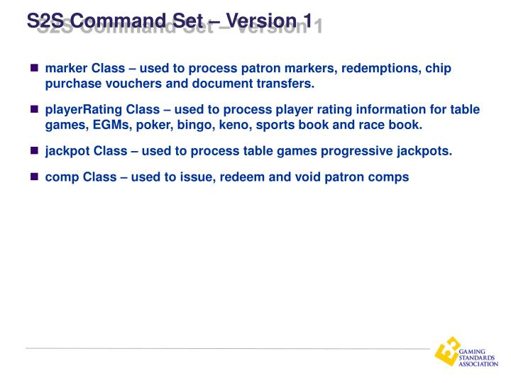 S2S Command Set – Version 1