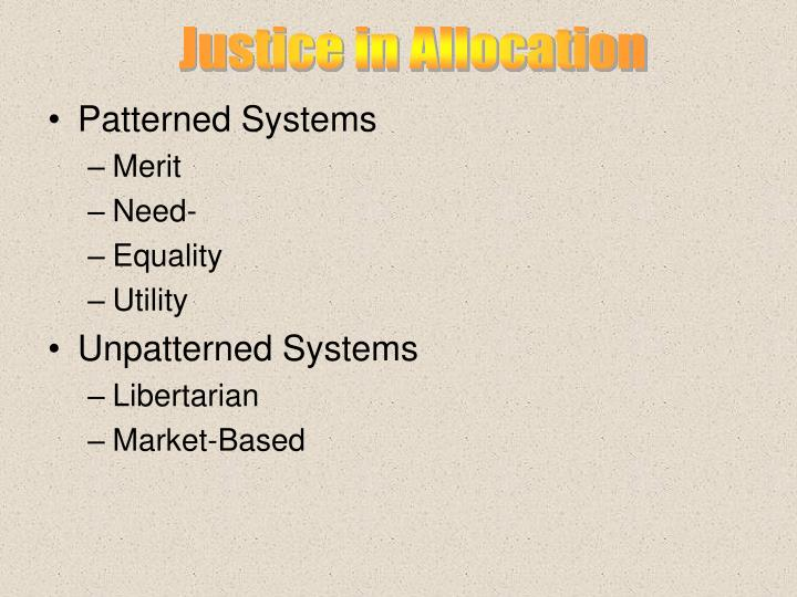 Justice in Allocation