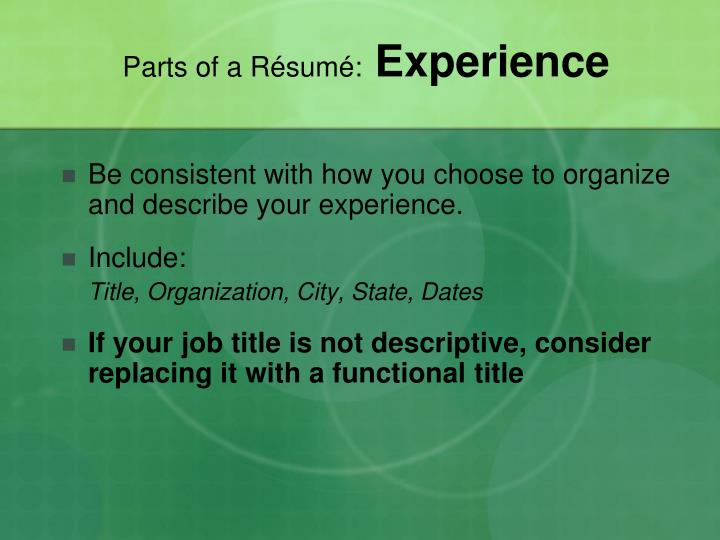 Parts of a Résumé: