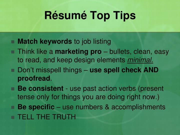 Résumé Top Tips