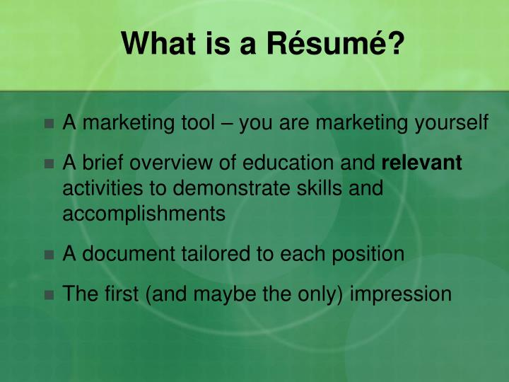 What is a Résumé?