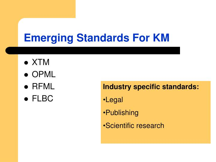 Emerging Standards For KM