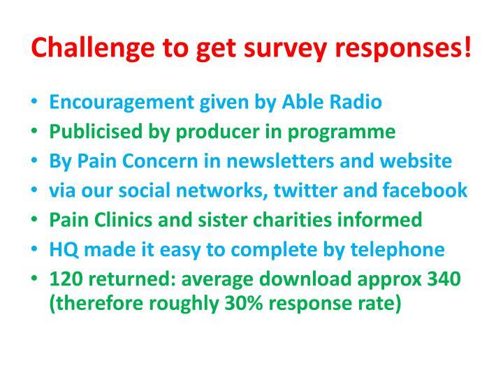 Challenge to get survey responses!