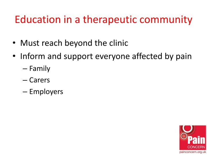 Education in a therapeutic community