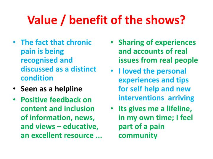 Value / benefit of the shows?