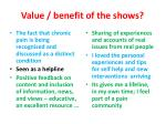 value benefit of the shows