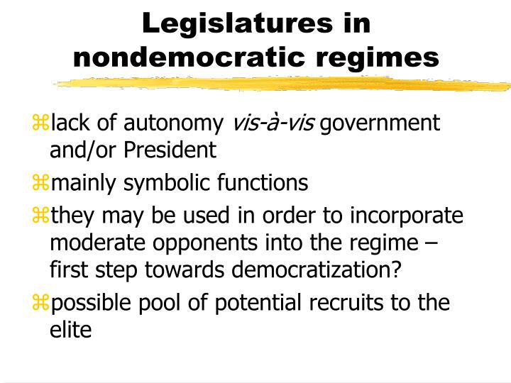 Legislatures in nondemocratic regimes
