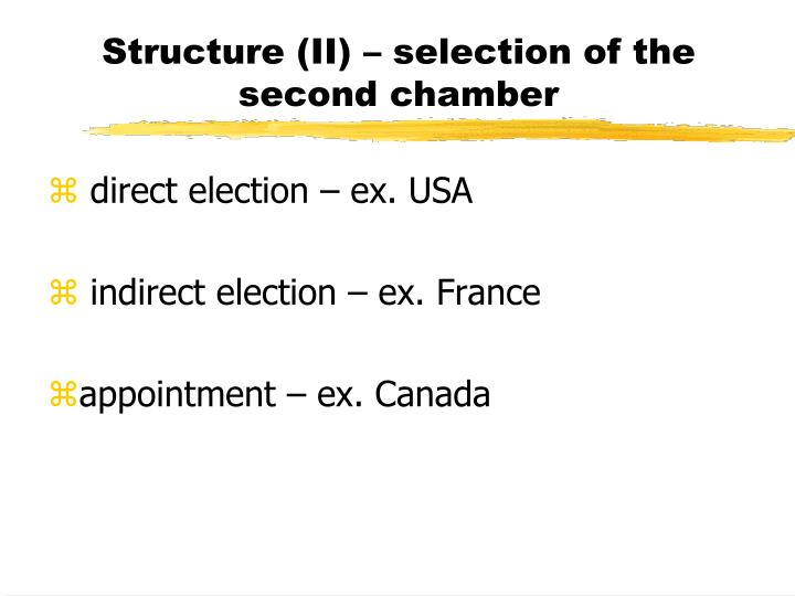 Structure (II) – selection of the second chamber