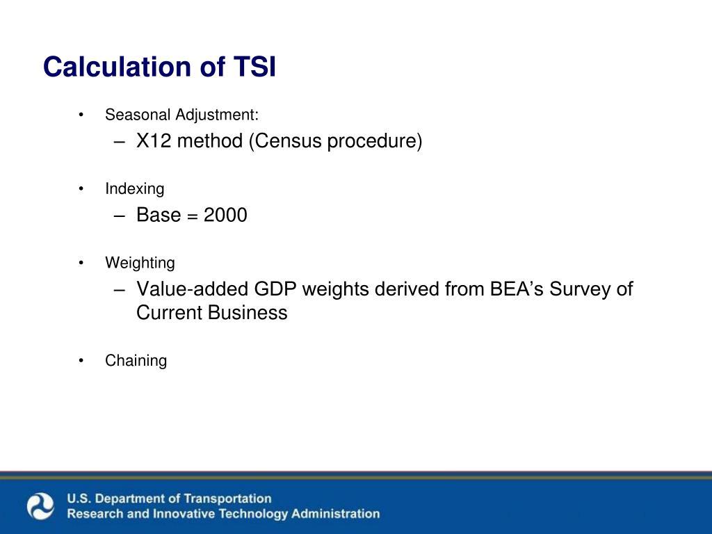 Calculation of TSI