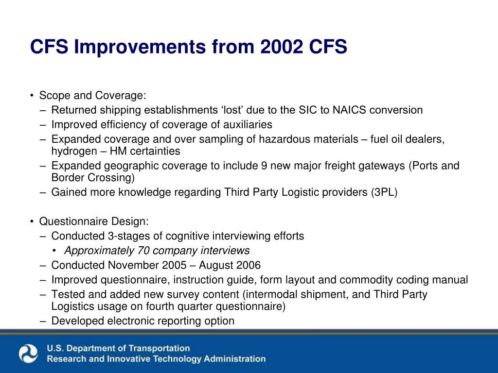 CFS Improvements from 2002 CFS