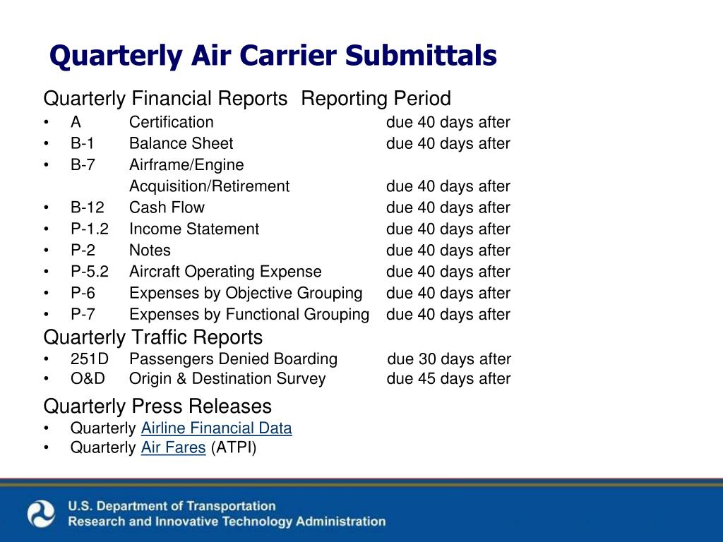 Quarterly Financial Reports	Reporting Period