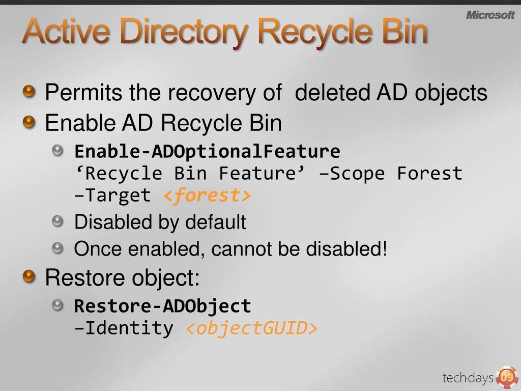 Active Directory Recycle Bin