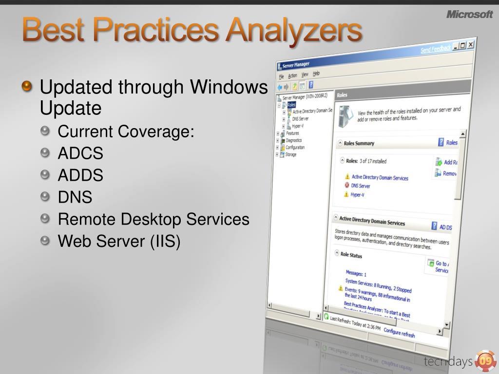 Best Practices Analyzers
