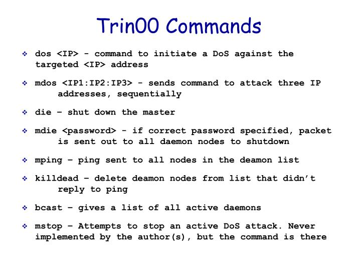 Trin00 Commands