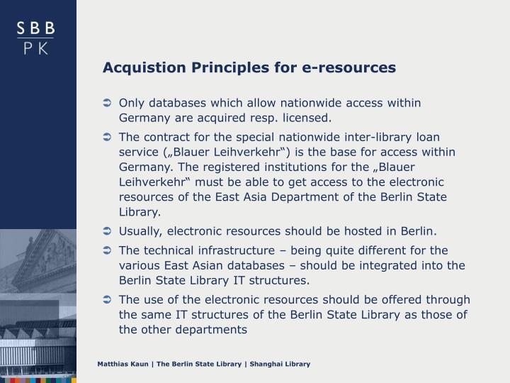 Acquistion Principles for e-resources