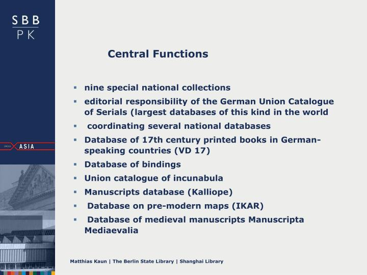 Central Functions
