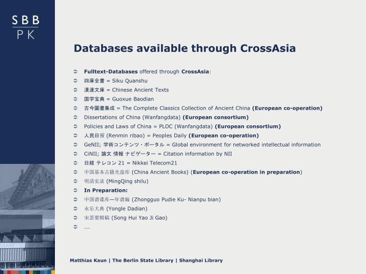 Databases available through CrossAsia