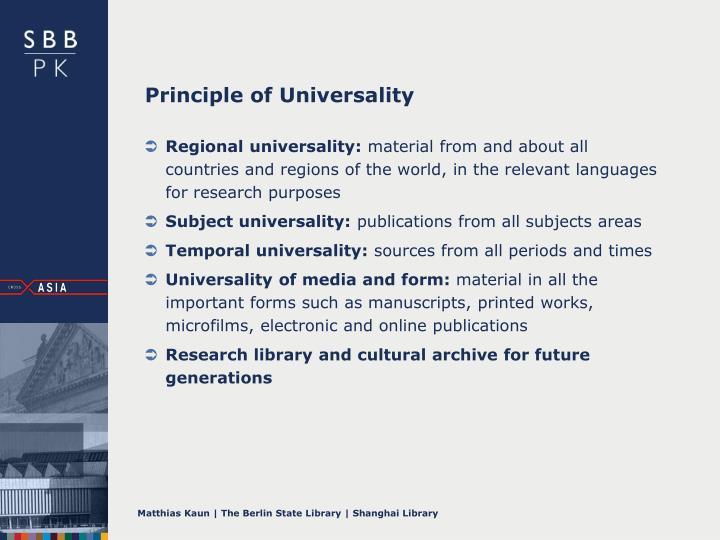 Principle of Universality