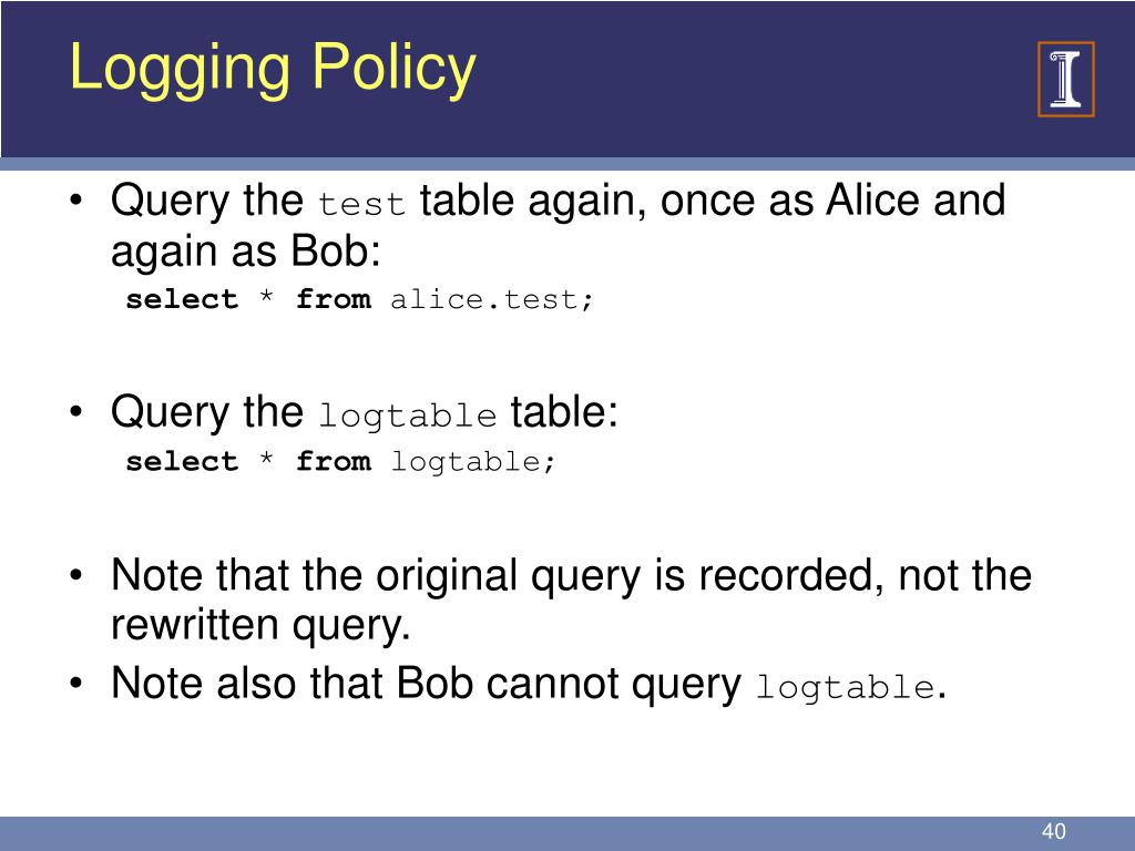 Logging Policy