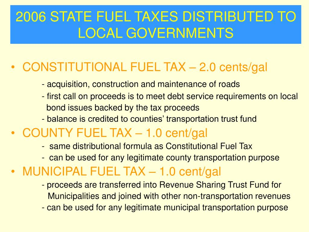 2006 STATE FUEL TAXES DISTRIBUTED TO LOCAL GOVERNMENTS