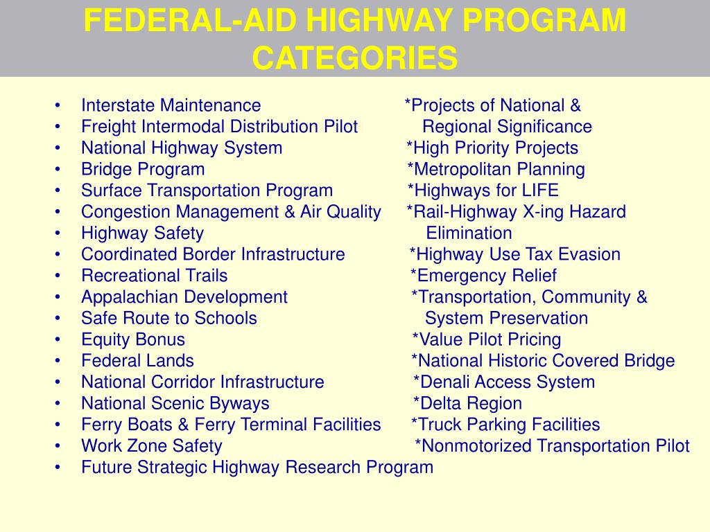 FEDERAL-AID HIGHWAY PROGRAM CATEGORIES
