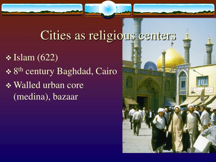 Cities as religious centers