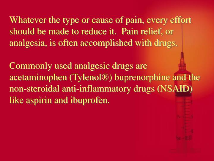 Whatever the type or cause of pain, every effort should be made to reduce it.  Pain relief, or analgesia, is often accomplished with drugs.