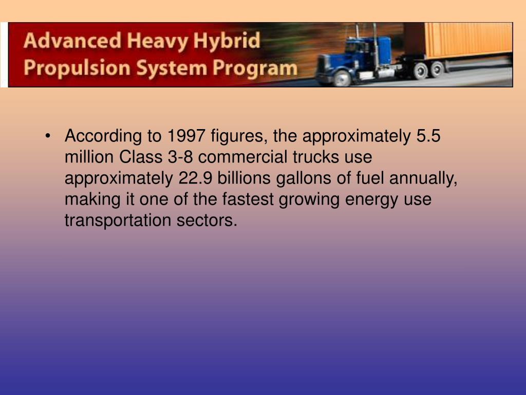 According to 1997 figures, the approximately 5.5 million Class 3-8 commercial trucks use approximately 22.9 billions gallons of fuel annually, making it one of the fastest growing energy use transportation sectors.