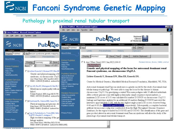 Fanconi Syndrome Genetic Mapping