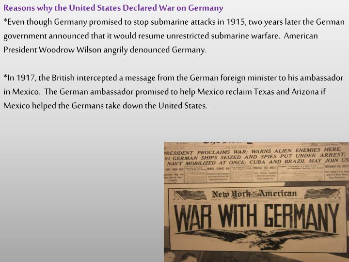 Reasons why the United States Declared War on Germany