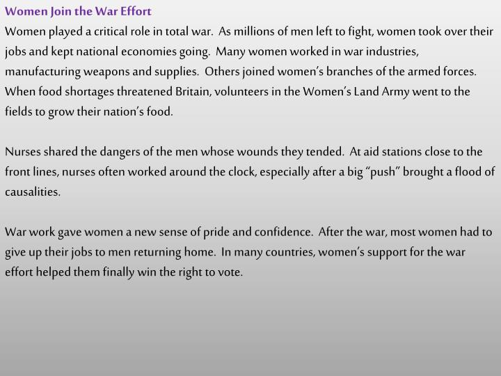 Women Join the War Effort
