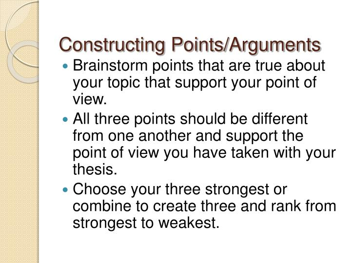 Constructing Points/Arguments