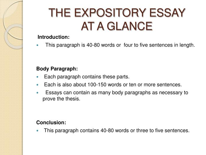 The expository essay at a glance