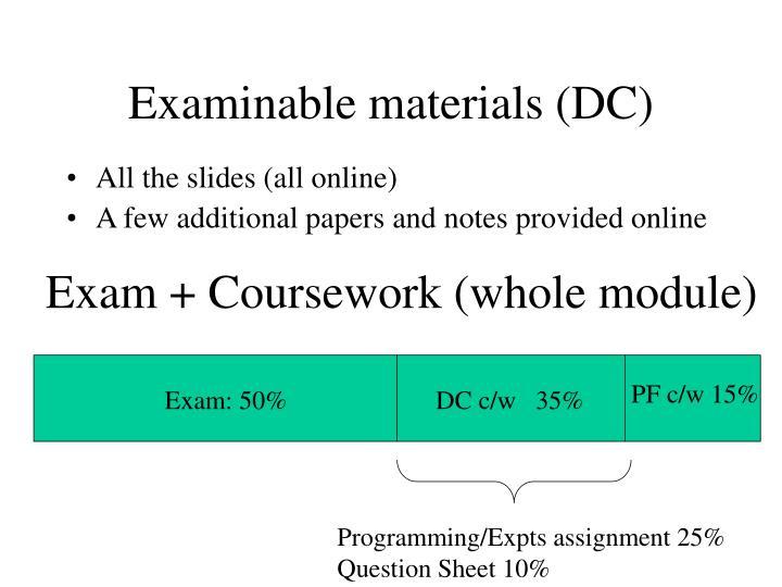 Examinable materials (DC)