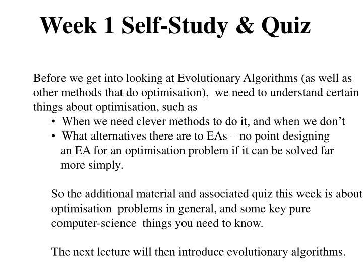 Week 1 Self-Study & Quiz