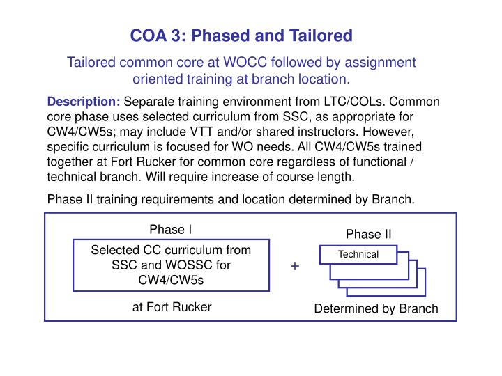 COA 3: Phased and Tailored