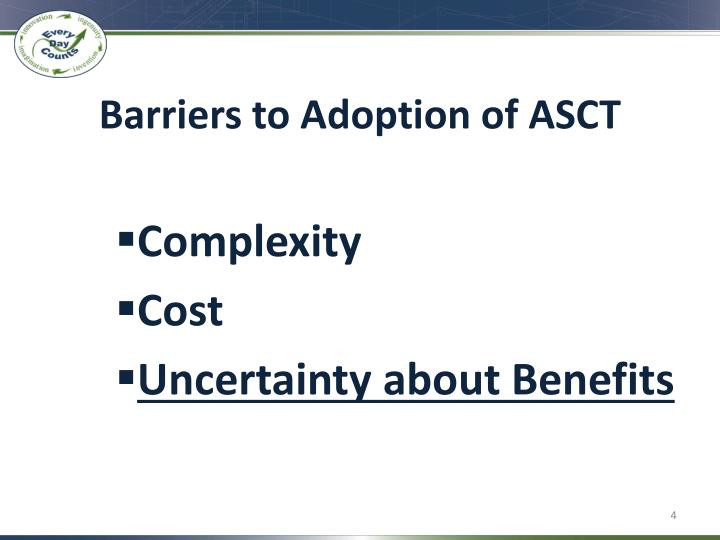 Barriers to Adoption of ASCT