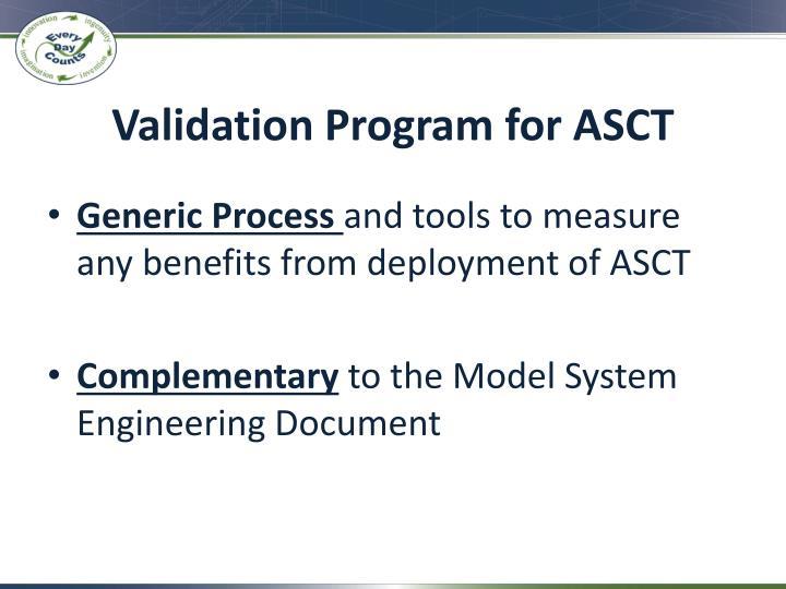 Validation Program for ASCT