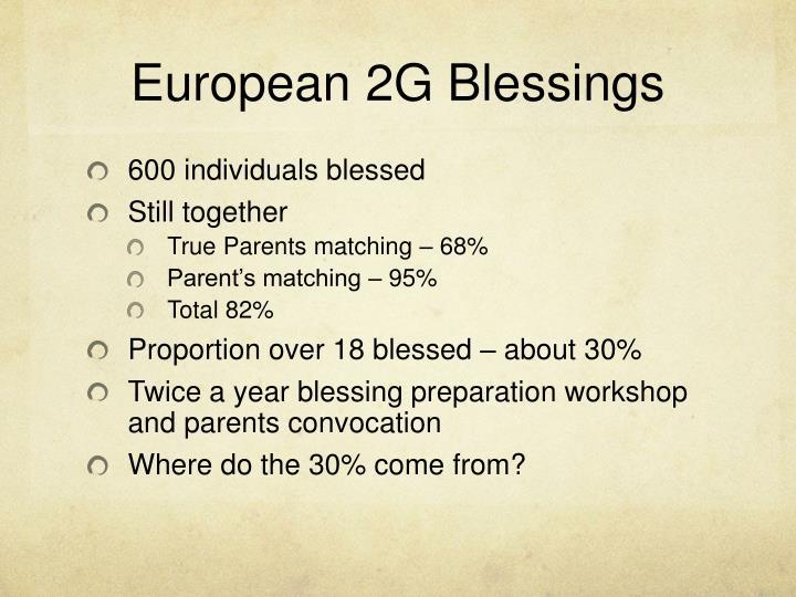 European 2G Blessings