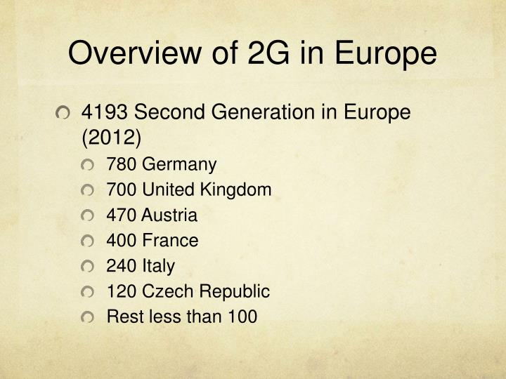 Overview of 2G in Europe