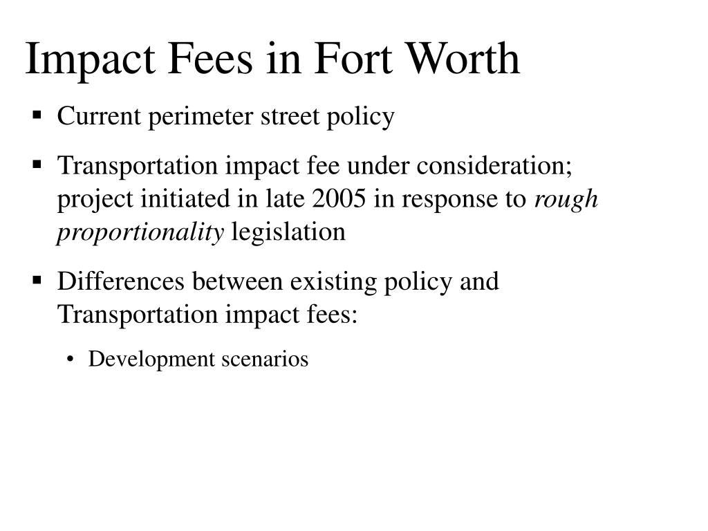 Impact Fees in Fort Worth