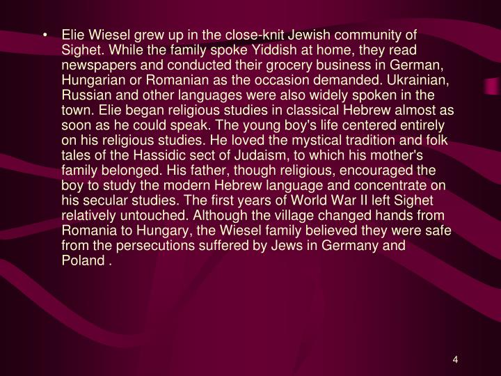 an analysis of religion in night by elie wiesel In his night, 1986 nobel peace prize winning author elie wiesel renders a profound account of his experience as a young jewish boy from transylvania who.