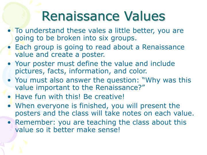 Renaissance Values