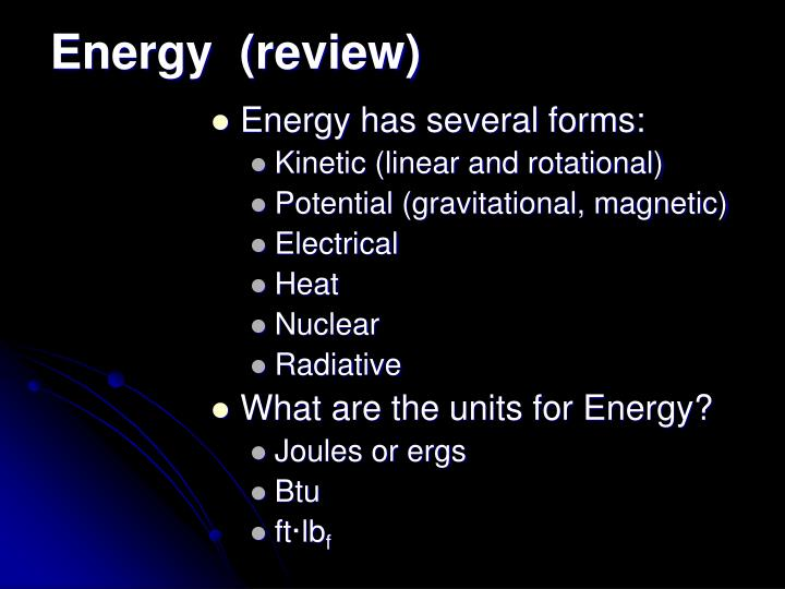 Energy  (review)
