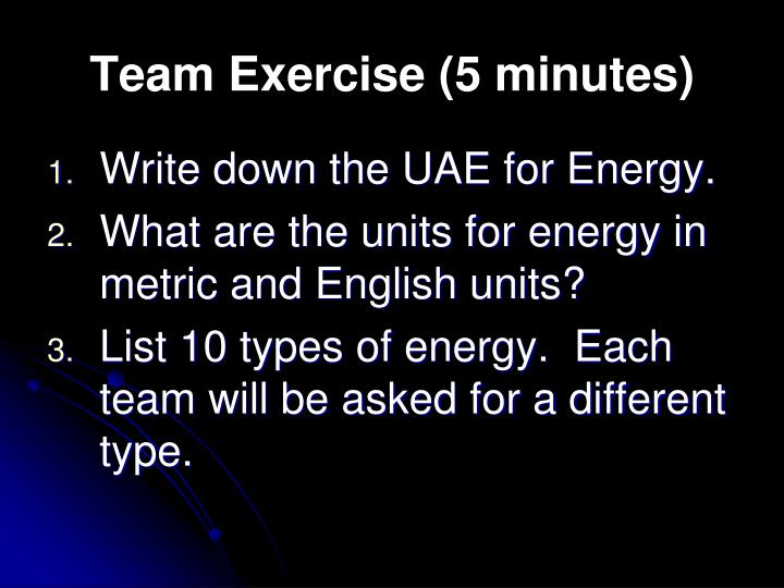 Team exercise 5 minutes