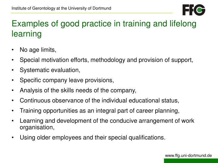 Examples of good practice in training and lifelong learning