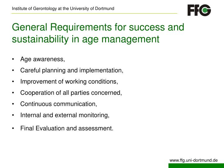 General Requirements for success and sustainability in age management